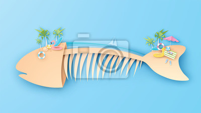 Illustration of the sea for the conservation aquatic animals. Fishbone Island. Poster design for animals sea life conservation. World Oceans Day. paper cut and craft style. vector, illustration.