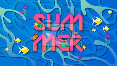 Illustration of Underwater with coral, fish, starfish, jellyfish, crabs, shellfish  and summer text design. On the water surface background. paper cut and craft style. vector, illustration.