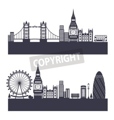 Illustration Silhouette Background of Abstract London Skyline - Vector