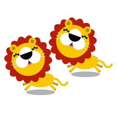 Sticker Illustration von cute Cartoon-Löwen