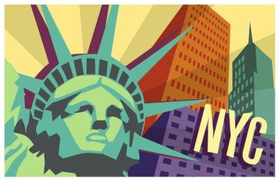 Sticker Illustration von New York City und die Freiheitsstatue