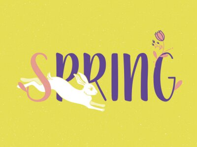 Illustration with spring is here logo. Card for spring season with white rabbit and herb. Vector illustration.