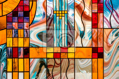 Sticker image of a multicolored stained glass window with an irregular block pattern, an abstract pattern on the glass, a trend, a multicolored geometric background