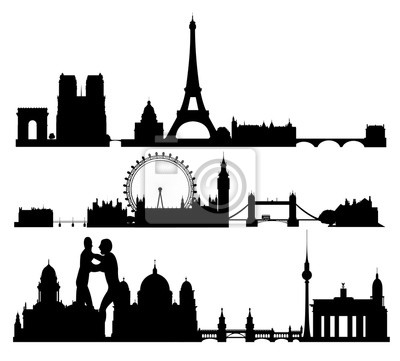 Image of cities in Europe in a flat style