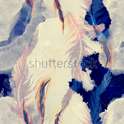 Sticker imprints flying bird feathers mix seamless pattern. abstract watercolour and digital hand drawn picture. mixed media artwork for textiles, fabrics, souvenirs, packaging and greeting cards.