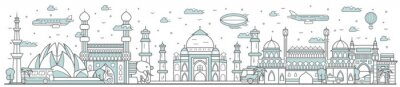 India skyline. Line cityscape with traditional building landmarks horizontal panorama. India skyline with Taj Mahal, Lotus Temple street city sights. City constructions outline, architecture concept