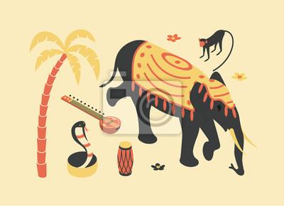 India, vector isometric concept illustration, 3d icon set