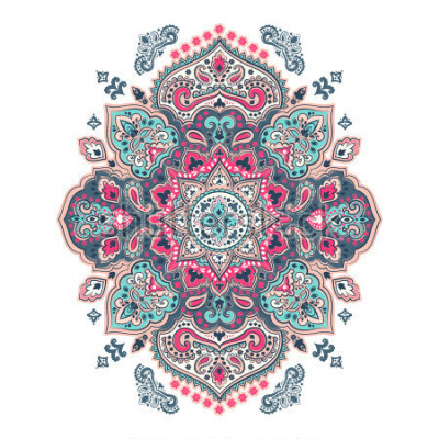 Sticker Indian floral paisley medallion pattern. Ethnic Mandala ornament. Vector Henna tattoo style. Can be used for textile, greeting card, coloring book, phone case print.