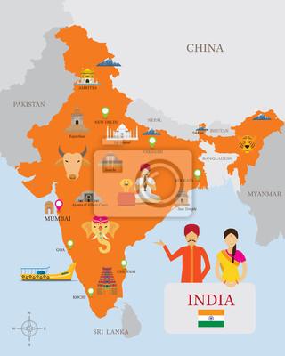 Indien Karte und Icons mit Menschen in traditionelle Kleidung