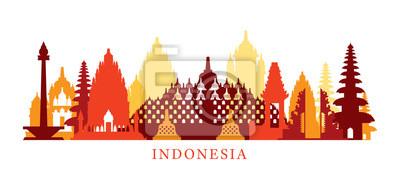 Indonesien Architektur Wahrzeichen Skyline, Form, Silhouette, Stadtansicht, Reise und Touristenattraktion
