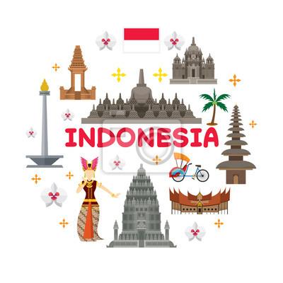 Indonesien Reise-Attraktion Label, Sehenswürdigkeiten, Tourismus und traditionelle Kultur