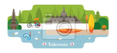 Indonesien Reise- und Attraktionsmarken