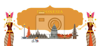 Indonesien Wahrzeichen, Traditioneller Tanz, Rahmen