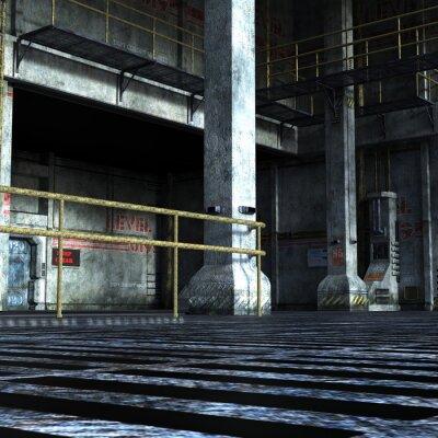 Sticker Industrie-Raum der technischen Abteilung mit eisernen Türen, Säulen und Metallelemente