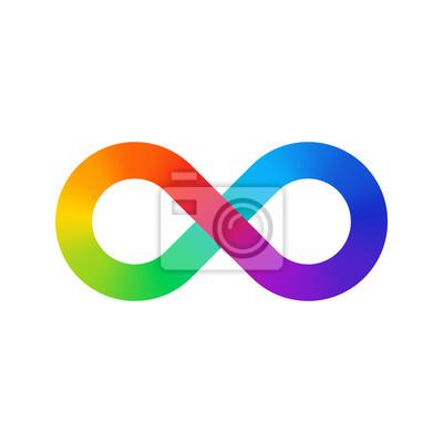 Infinity-Zeichen Farbspektrum. Regenbogengradient in Form des Unendlichkeitszeichens. Bunte Steigung mit acht Zeichen.