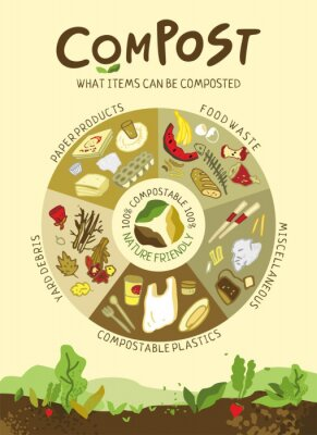 Informative poster about the correct composting. Food waste, plastic, yard debris hand drawn in a circular diagram. Concept banner about ways to save the planet from garbage. Flat vector illustration.