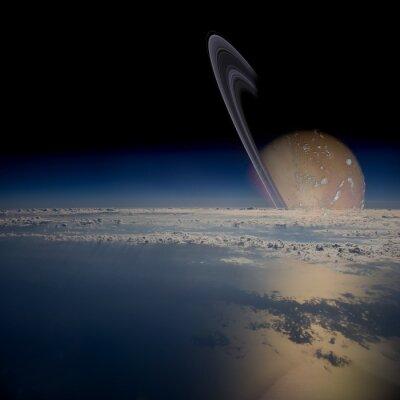 Sticker Informieren Sie von einem Satelliten in der Umlaufbahn um einen Ringplaneten.