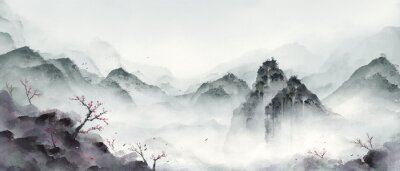 Sticker Ink landscape painting in winter.Eastern traditional painting