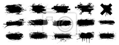 Sticker Ink splashes stencil very detailed collection. High quality manually traced. Black inked splatter dirt stain splattered spray splash with drops blots. Isolated  Silhouettes dirty liquid vector grunge