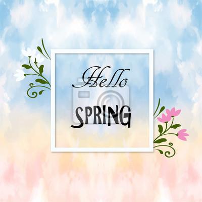 Inschrift Frühling auf Hintergrund mit Frühlingsblumen. Runder Banner mit dem Hello Spring Logo. Karte für Frühlingssaison mit weißem Rahmen und Kraut.