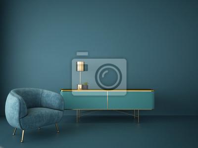 Sticker interior design for living area or reception in modern concept design/ 3d illustration,3d rendering