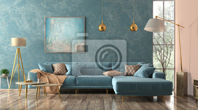 Sticker Interior of living room with blue sofa 3d rendering