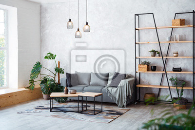 Sticker Interior of modern living room with comfortable sofa