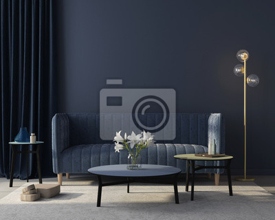Sticker Interior of the living room in monochrome blue. 3d render