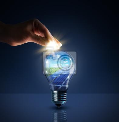 Sticker investieren in Solarenergie - Konzept - so in Glühbirne - Sparschwein