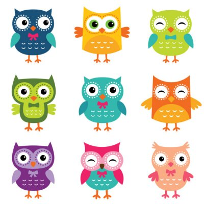 Sticker Isolated cartoon owls collection