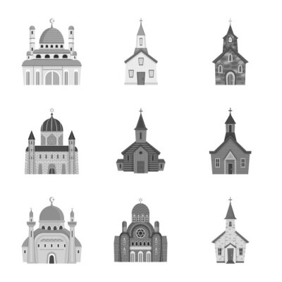Isolated object of architecture and faith logo. Set of architecture and traditional vector icon for stock.