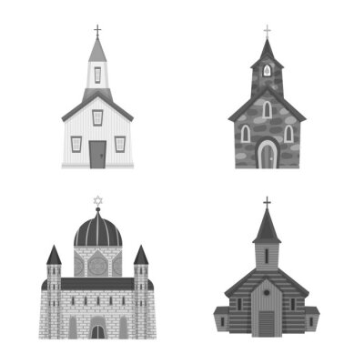 Isolated object of architecture and faith sign. Set of architecture and traditional vector icon for stock.