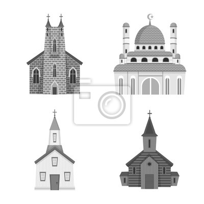 Isolated object of architecture and faith symbol. Set of architecture and traditional stock symbol for web.