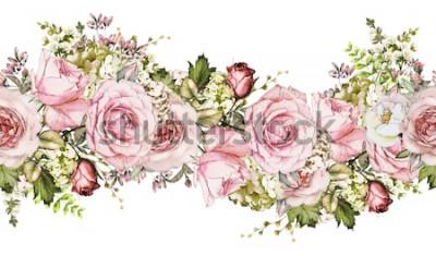 Sticker isoliert Nahtlose Grenze mit rosa Blüten, Blätter. Vintages Aquarellblumenmuster mit Blatt und stieg. Pastellfarbe. Nahtlose Blumenkante, Band für Karten, Hochzeit oder Stoff.