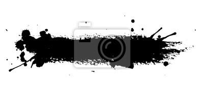 Sticker Isolierte Tinte Spot auf weißem Hintergrund. Schwarze Farbe spritzen Illustration.