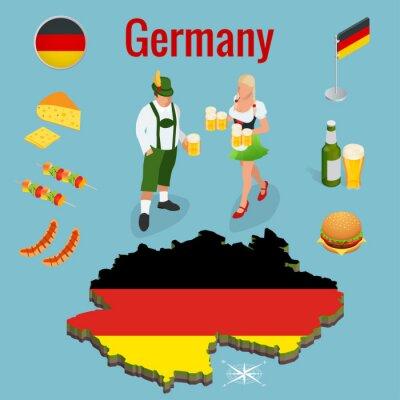 Isometrische Icon-Set von traditionellen Symbolen der Kultur und Küche von Deutschland oder Deutschland. Bundesrepublik Deutschland und Flagge. Flache Vektor-Illustrationen.