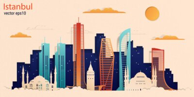 Istanbul city colorful paper cut style, vector stock illustration. Cityscape with all famous buildings. Skyline Istanbul city composition for design.