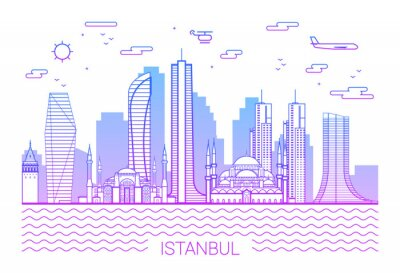 Istanbul city purple line art Vector illustration with all famous buildings. Skyline. White background and pink line.