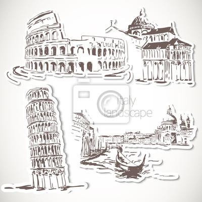 Italien Hand gezeichnete Landschaft im Vintage-Stil