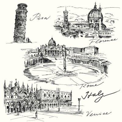 Sticker Italien - Hand gezeichnete Sammlung