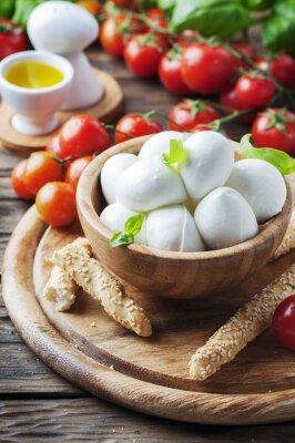 Sticker Italienische Mozzarella mit Tomaten und Basilikum