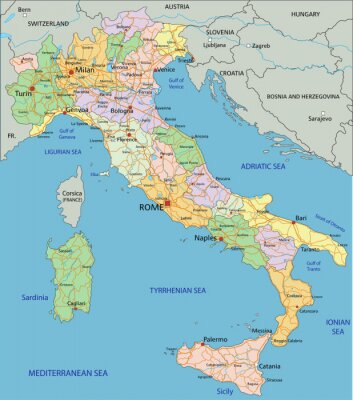 Sticker Italy - Highly detailed editable political map with separated layers.