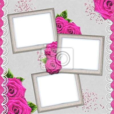 Jahrgang eleganten Silber-Rahmen mit Rose und Spitze