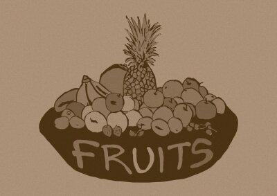 Sticker Jahrgang Früchte Korb