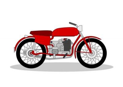 Sticker Jahrgang Motorrad Illustration auf weiß