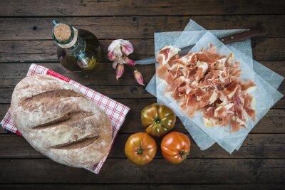 Sticker Jamon, Pfanne, Tomate, Aceite de Oliva und aa para Hacer el típico Pfanne tumaca español