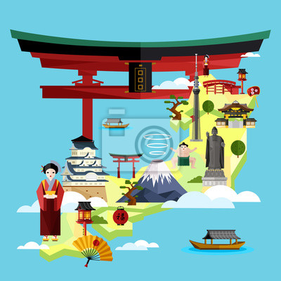 Japan berühmte Sehenswürdigkeiten und Reise-Karte mit asiatischen Mädchen in traditionellen Kleid auf blauem Hintergrund, Vektor-Illustration. Zeit zu reisen Konzept. Asiatische Architektur und tradit