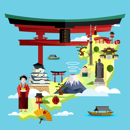 Japan famous landmarks and travel map with asian girl in traditional dress on blue background, vector illustration. Time to travel concept. Asian architecture and traditional symbols in flat design.