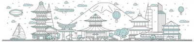 Japan skyline. Line cityscape with famous traditional building landmarks horizontal panorama. Japan skyline with street city sights and Mount Fuji. City constructions outline, architecture concept