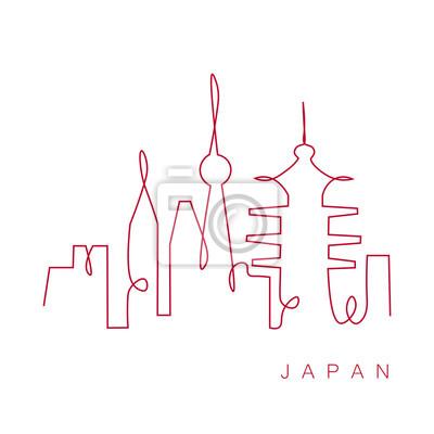 Japan travel city landscape one line drawing, vector illustration.